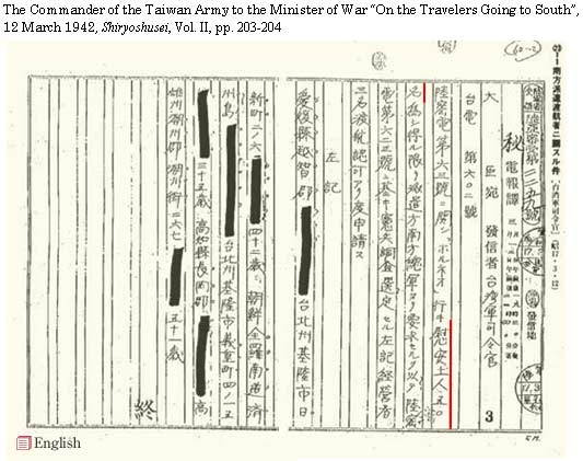 "The Commander of the Taiwan Army to the Minister of War ""On the Travellors Sent to South"",  March 12, 1942, 'Shiryoshusei', Vol. II, pp. 203-204."